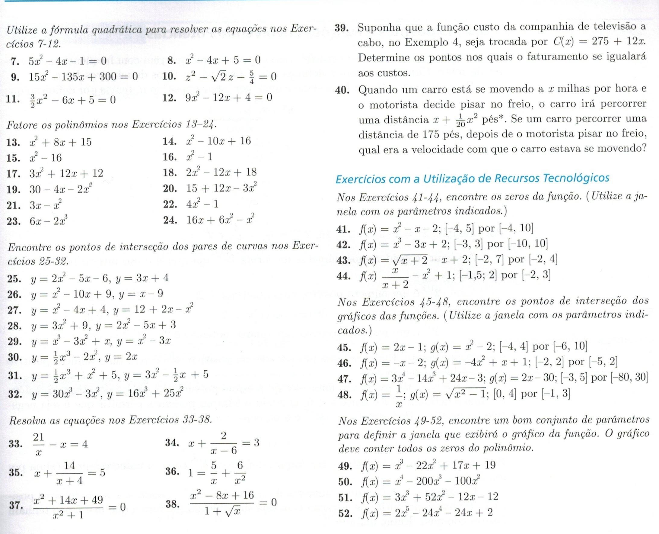 0.4. Zero de funções - a fórmula quadrática e fatoração